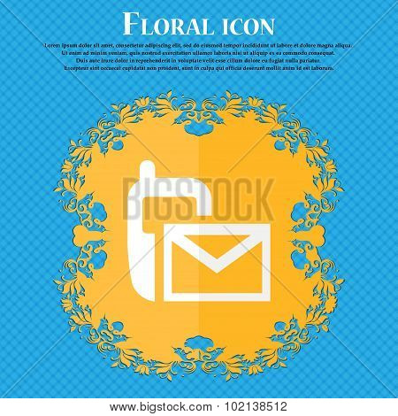 Mail Icon. Envelope Symbol. Message Sms Sign. Floral Flat Design On A Blue Abstract Background With