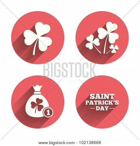 Saint Patrick day icons. Money bag with coin.