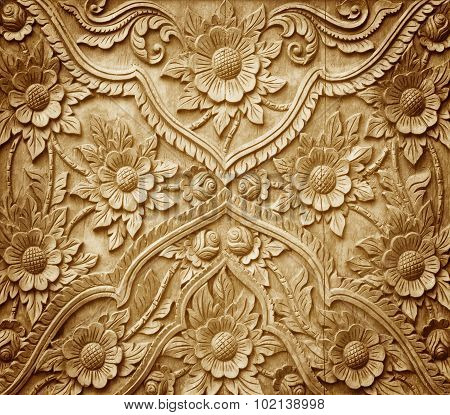 Carved On Wood Background