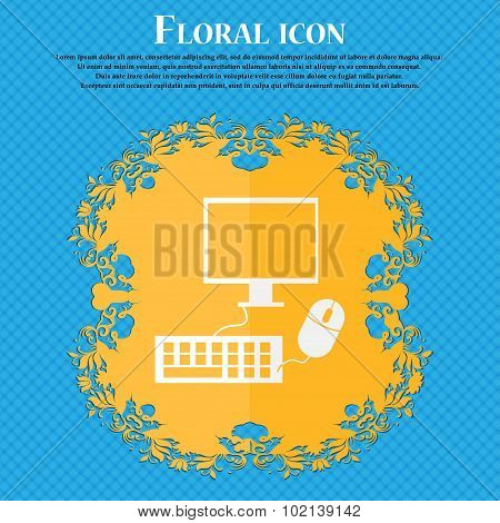 Computer Widescreen Monitor, Keyboard, Mouse Sign Icon. Floral Flat Design On A Blue Abstract Backgr