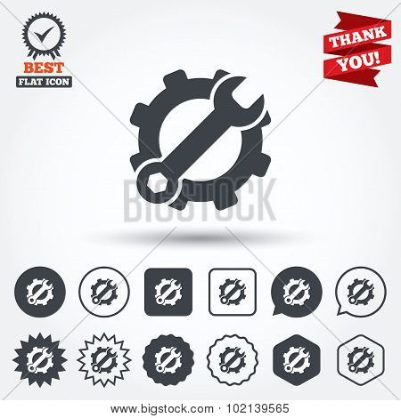 Service icon. Wrench key with gear sign.