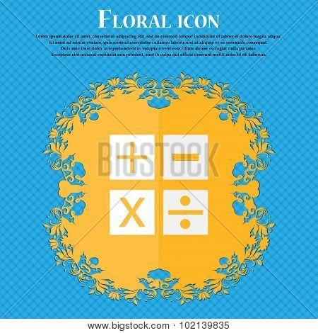 Multiplication, Division, Plus, Minus Icon Math Symbol Mathematics. Floral Flat Design On A Blue Abs