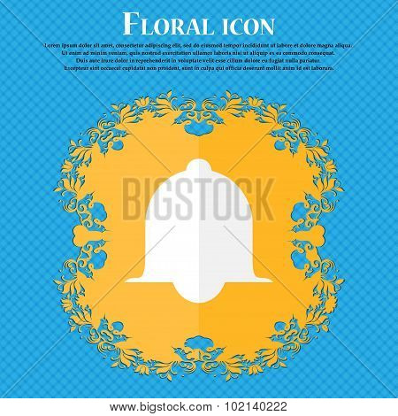 Alarm Bell Sign Icon. Wake Up Alarm Symbol. Speech Bubbles Information Icons. Floral Flat Design On