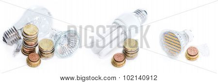 Different Light Bulbs (isolated On White)