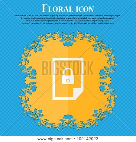 File Unlocked Icon Sign. Floral Flat Design On A Blue Abstract Background With Place For Your Text.