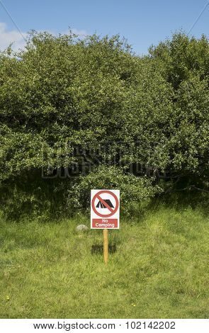 No camping sign on a summer day