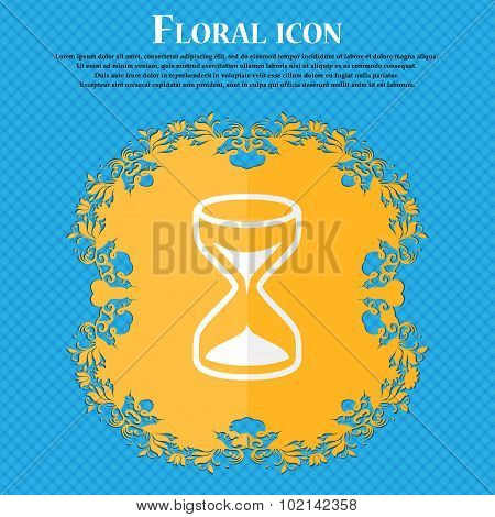Hourglass Sign Icon. Sand Timer Symbol. Floral Flat Design On A Blue Abstract Background With Place