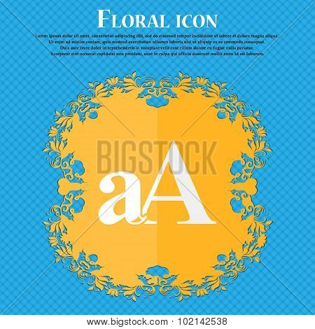 Enlarge Font, Aa Icon Sign. Floral Flat Design On A Blue Abstract Background With Place For Your Tex