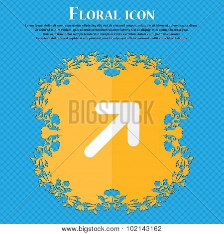 Arrow Expand Full Screen Scale . Floral Flat Design On A Blue Abstract Background With Place For You