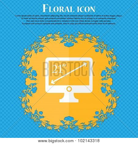 Diagonal Of The Monitor 21 Inches Icon Sign. Floral Flat Design On A Blue Abstract Background With P