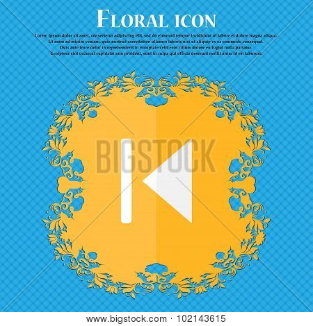 Fast Backward . Floral Flat Design On A Blue Abstract Background With Place For Your Text. Vector