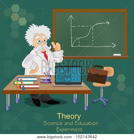 Science and education concept, theory, professor, teacher, vector illustration in flat design