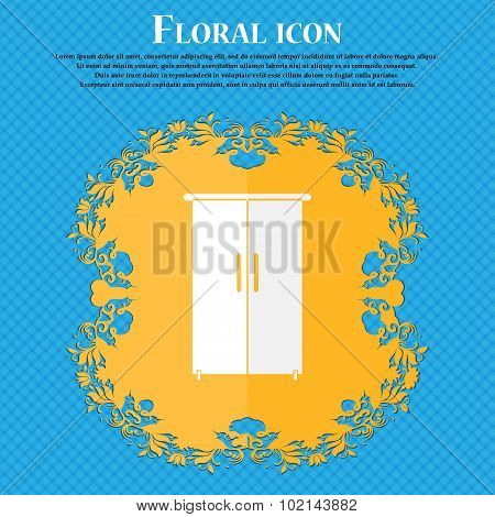 Cupboard Icon Sign. Floral Flat Design On A Blue Abstract Background With Place For Your Text. Vecto