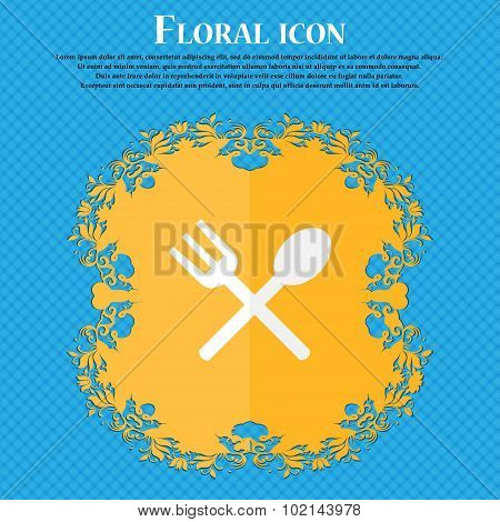 Fork And Spoon Crosswise, Cutlery, Eat Icon Sign. Floral Flat Design On A Blue Abstract Background W