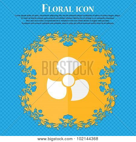 Fans, Propeller Icon Sign. Floral Flat Design On A Blue Abstract Background With Place For Your Text