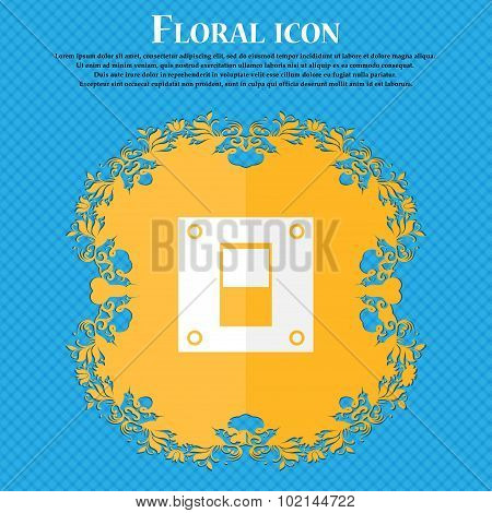 Power Switch Icon Sign. Floral Flat Design On A Blue Abstract Background With Place For Your Text. V