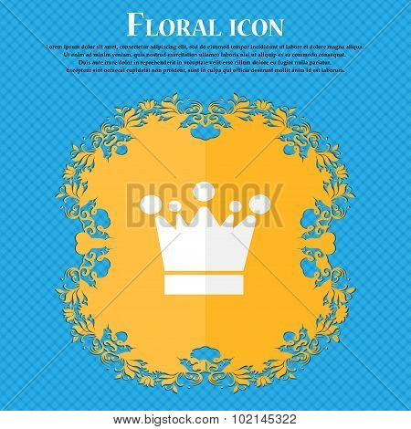 Crown Icon Sign. Floral Flat Design On A Blue Abstract Background With Place For Your Text. Vector