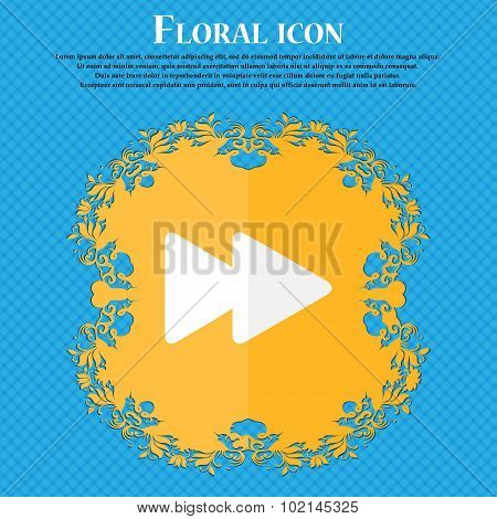 Rewind . Floral Flat Design On A Blue Abstract Background With Place For Your Text. Vector