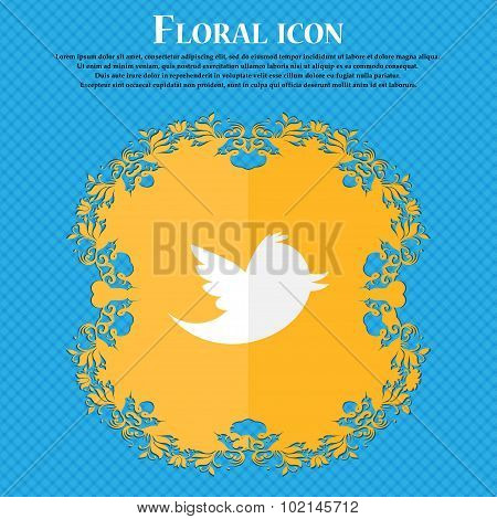 Messages Retweet . Floral Flat Design On A Blue Abstract Background With Place For Your Text. Vector