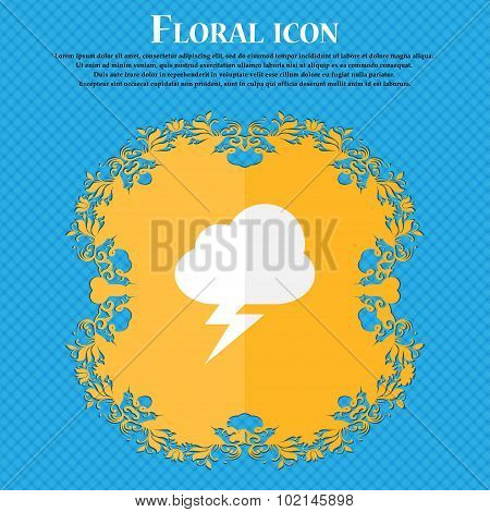 Storm . Floral Flat Design On A Blue Abstract Background With Place For Your Text. Vector