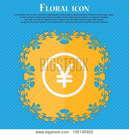 Japanese Yuan Icon Sign. Floral Flat Design On A Blue Abstract Background With Place For Your Text.