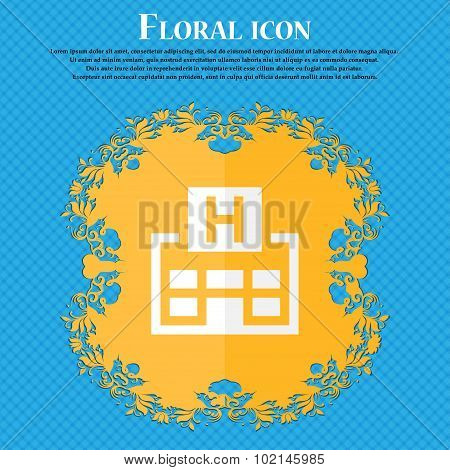 Hotkey . Floral Flat Design On A Blue Abstract Background With Place For Your Text. Vector