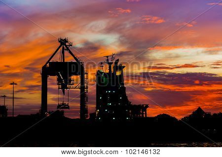 Silhouette Of  Cargo Ship.