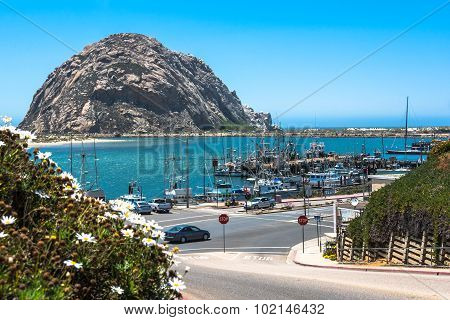 Morro Rock in front of Morro Bay, California