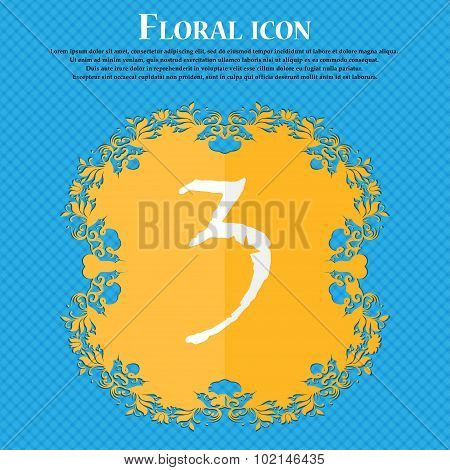 Third Place Award Sign. Winner Symbol. Step Three. Floral Flat Design On A Blue Abstract Background