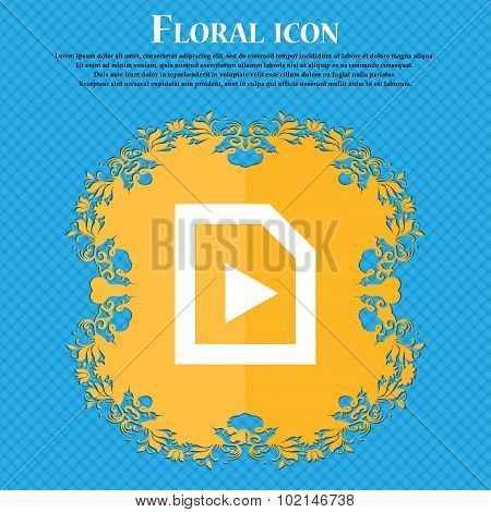 Play . Floral Flat Design On A Blue Abstract Background With Place For Your Text. Vector