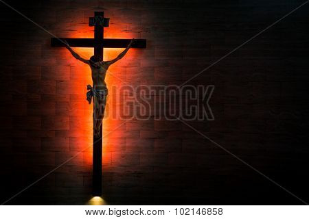 Catholic Christian Crucifix In Silhouette Flushed Left.