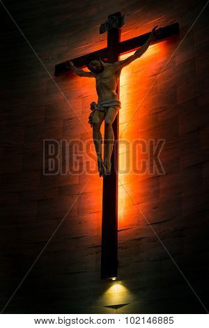 Crucifix Of The Catholic Christian faith In Silhouette.