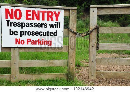 No entry sign on Waiheke Island New Zealand.