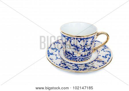 Classic luxury porcelain cup and saucer, isolated on white background