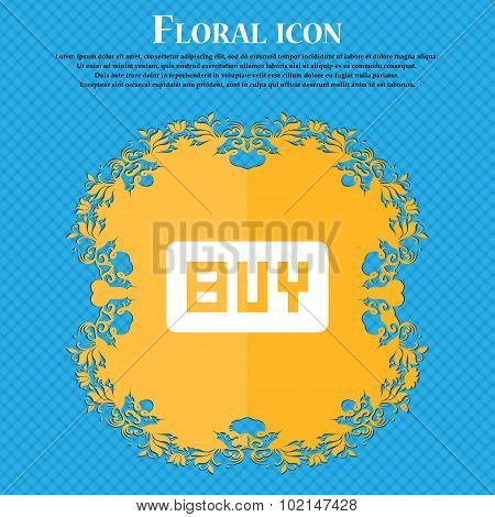 Buy, Online Buying Dollar Usd  . Floral Flat Design On A Blue Abstract Background With Place For You