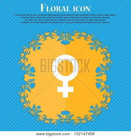 Symbols Gender, Female, Woman Sex . Floral Flat Design On A Blue Abstract Background With Place For