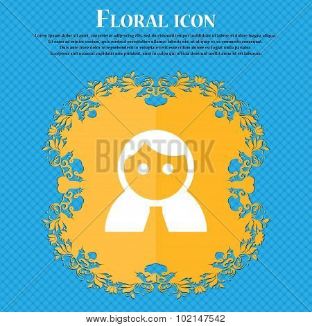 Female, Woman Human, Women Toilet, User, Login . Floral Flat Design On A Blue Abstract Background Wi