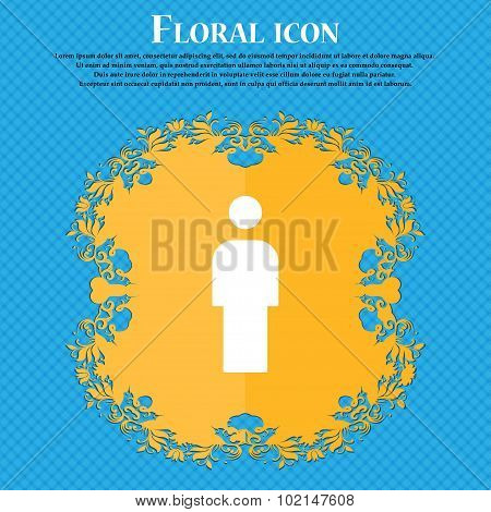 Human, Man Person, Male Toilet . Floral Flat Design On A Blue Abstract Background With Place For You