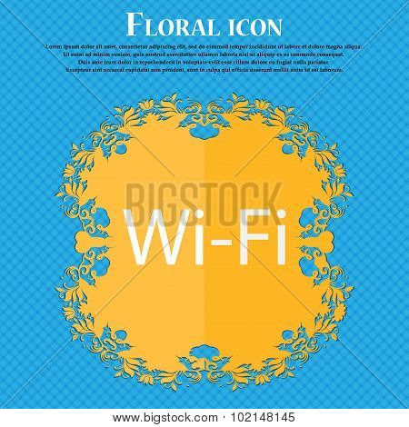 Free Wifi Sign. Wi-fi Symbol. Wireless Network Icon. Floral Flat Design On A Blue Abstract Backgroun