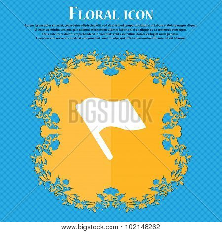 Finish, Start Flag . Floral Flat Design On A Blue Abstract Background With Place For Your Text. Vect