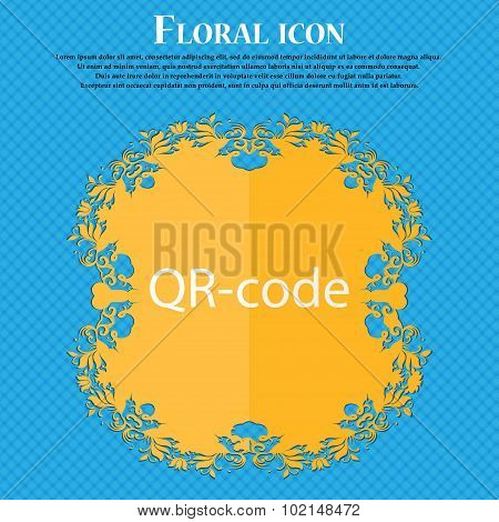Qr-code Sign Icon. Scan Code Symbol. Floral Flat Design On A Blue Abstract Background With Place For