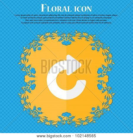 Upgrade, Arrow . Floral Flat Design On A Blue Abstract Background With Place For Your Text. Vector