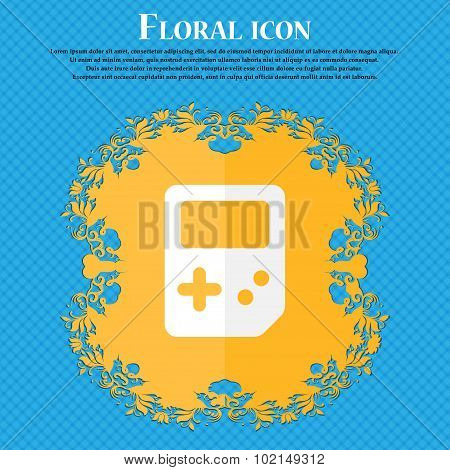 Tetris . Floral Flat Design On A Blue Abstract Background With Place For Your Text. Vector