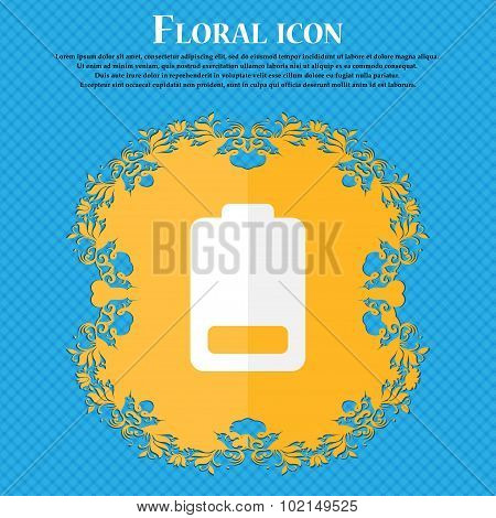 Battery Low Level, Electricity . Floral Flat Design On A Blue Abstract Background With Place For You