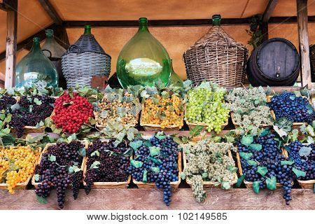 Display Of Assorted Colored Grapes