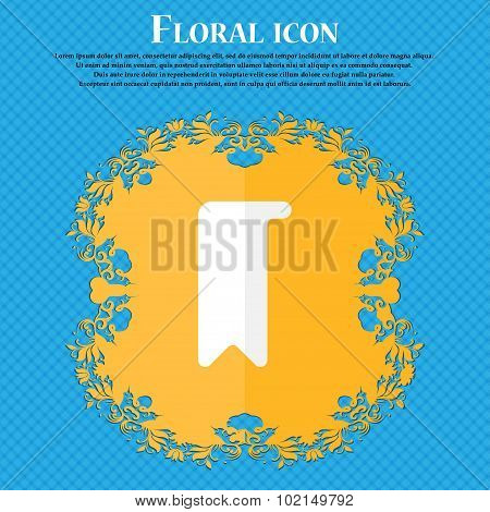 Bookmark . Floral Flat Design On A Blue Abstract Background With Place For Your Text. Vector