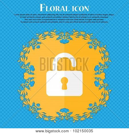 Open Padlock . Floral Flat Design On A Blue Abstract Background With Place For Your Text. Vector