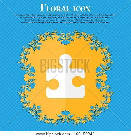 Puzzle Piece . Floral Flat Design On A Blue Abstract Background With Place For Your Text. Vector