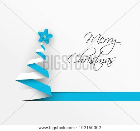 Simple vector christmas tree made from blue paper stripe - original new year card