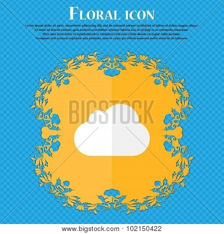 Cloud . Floral Flat Design On A Blue Abstract Background With Place For Your Text. Vector
